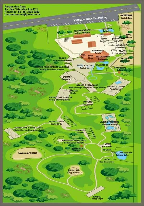 Parque das Aves Iguazu Aviary Map and Info