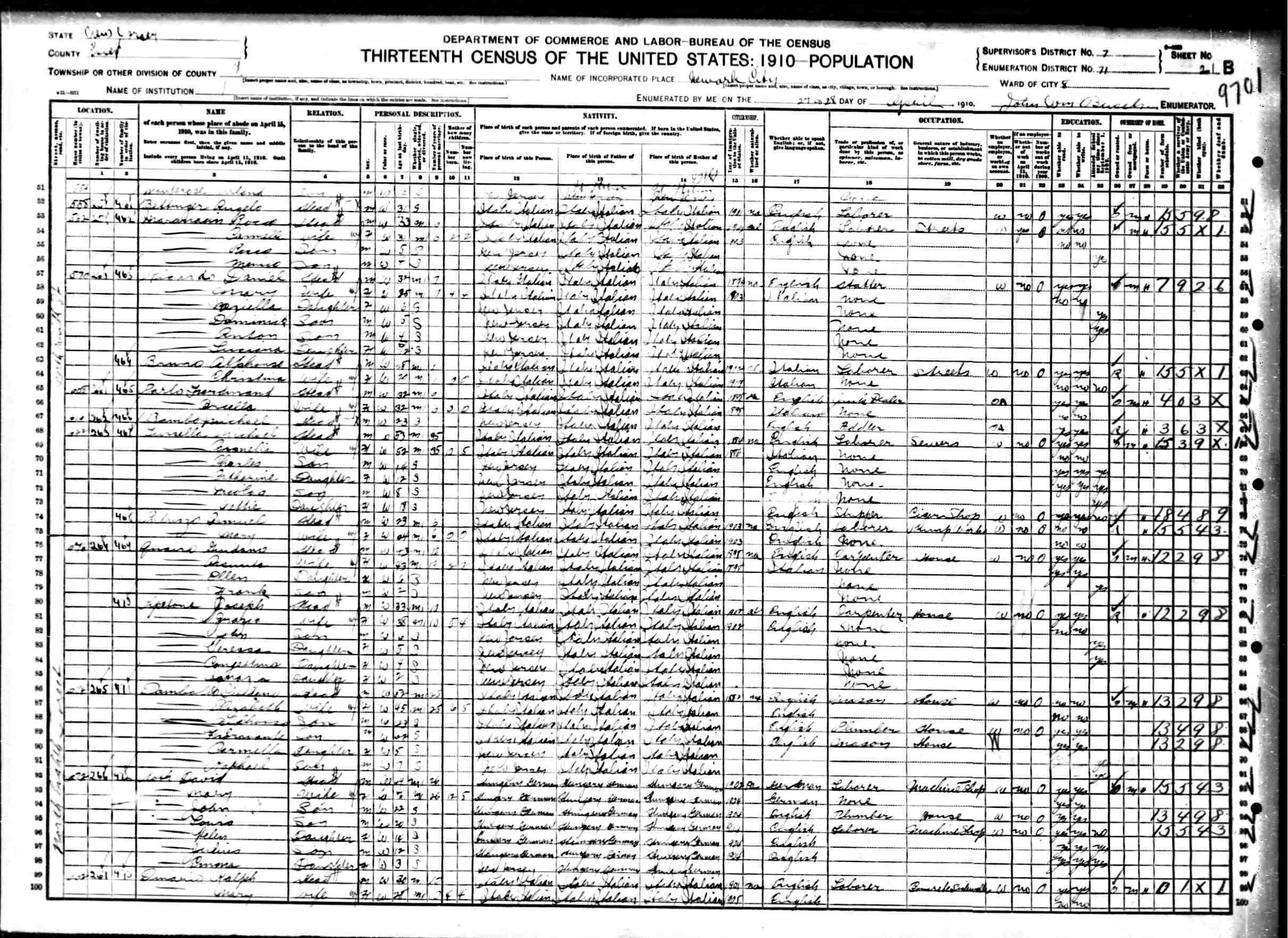 Italiangenealogy Sabino Petruzzi In Newark